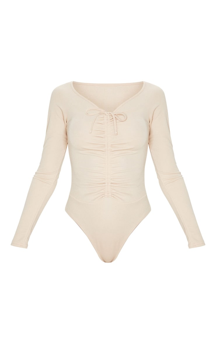 Sand Ruched Front Long Sleeve Bodysuit 3
