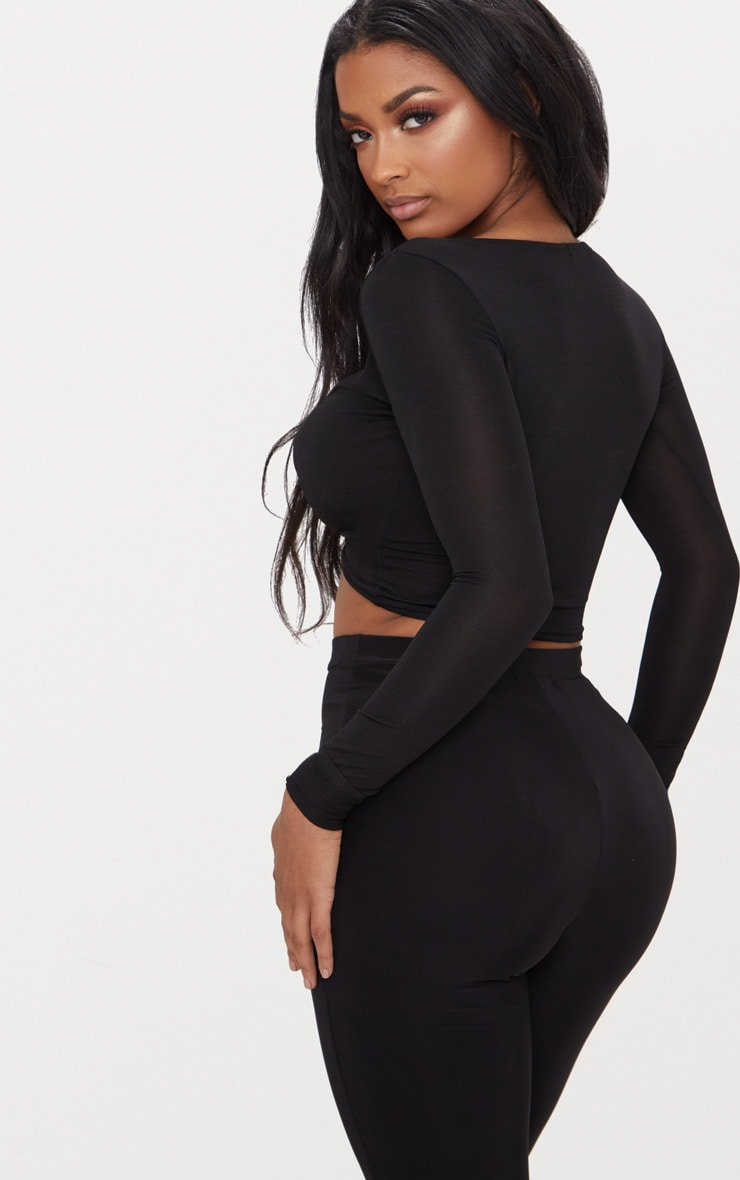 Shape Black Slinky Twist Front Crop Top 2