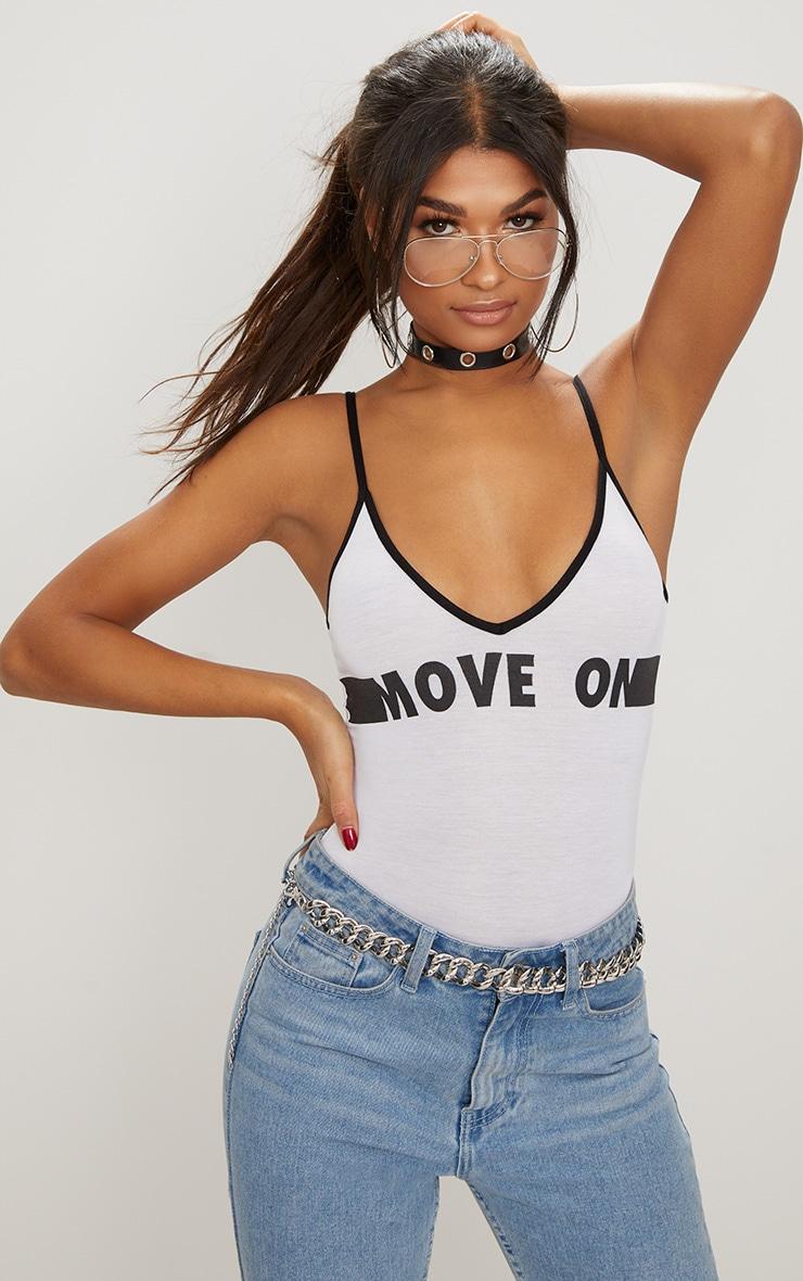 White Move On Slogan Sporty Thong Bodysuit 1