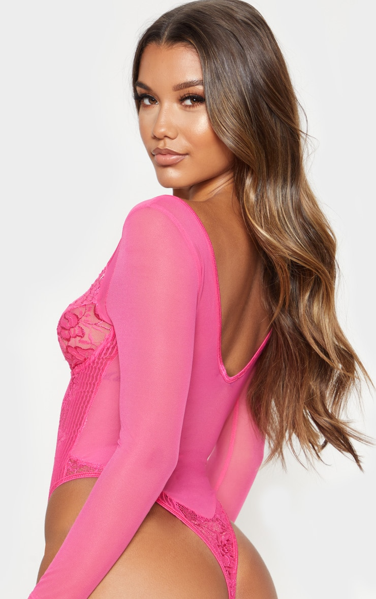 Hot Pink Longsleeve Lace Insert High Leg Cupped Body 2