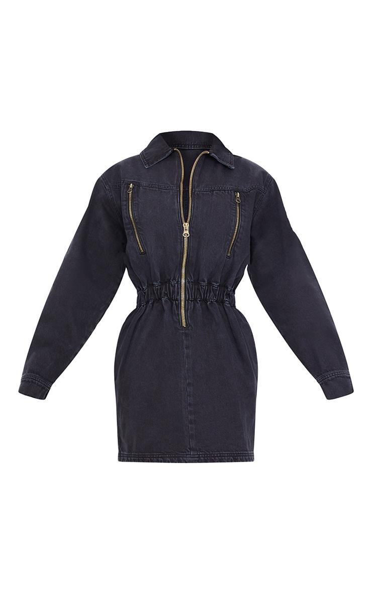 Robe en jean noir délavé à manches longues et zip 5