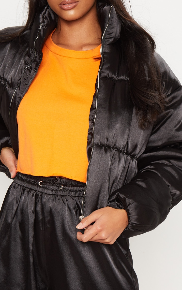 Petite Black Satin Puffer Coat  5