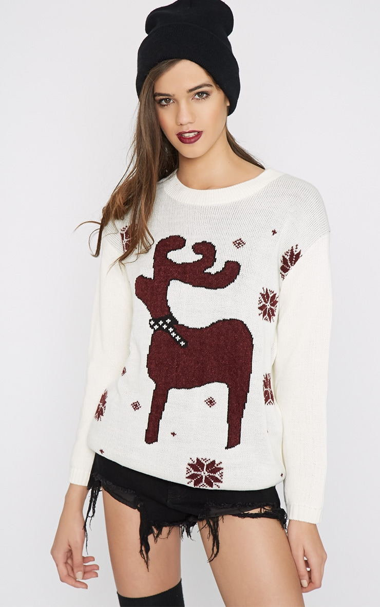 Noelle Cream Reindeer Jumper-One Size 4