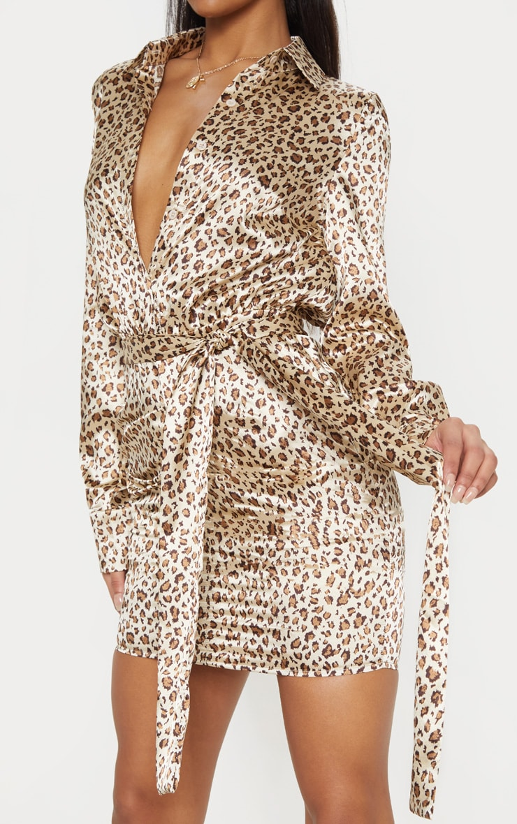 Nude Satin Leopard Print Ruched Shirt Dress 5