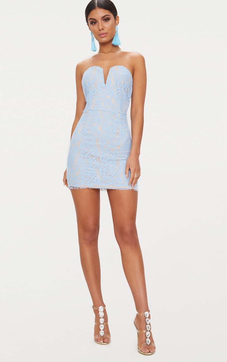 Dusty Blue Bandeau Lace V Bar Bodycon Dress 4
