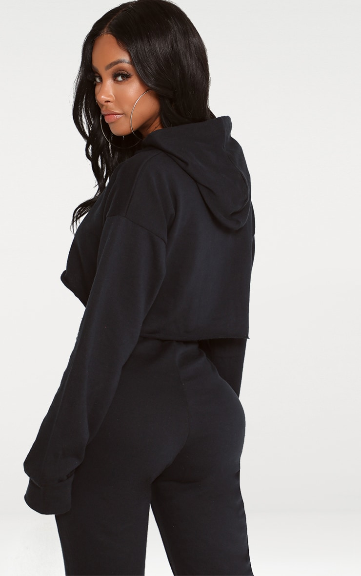 Shape Black Crop Open Neck Hoodie 2