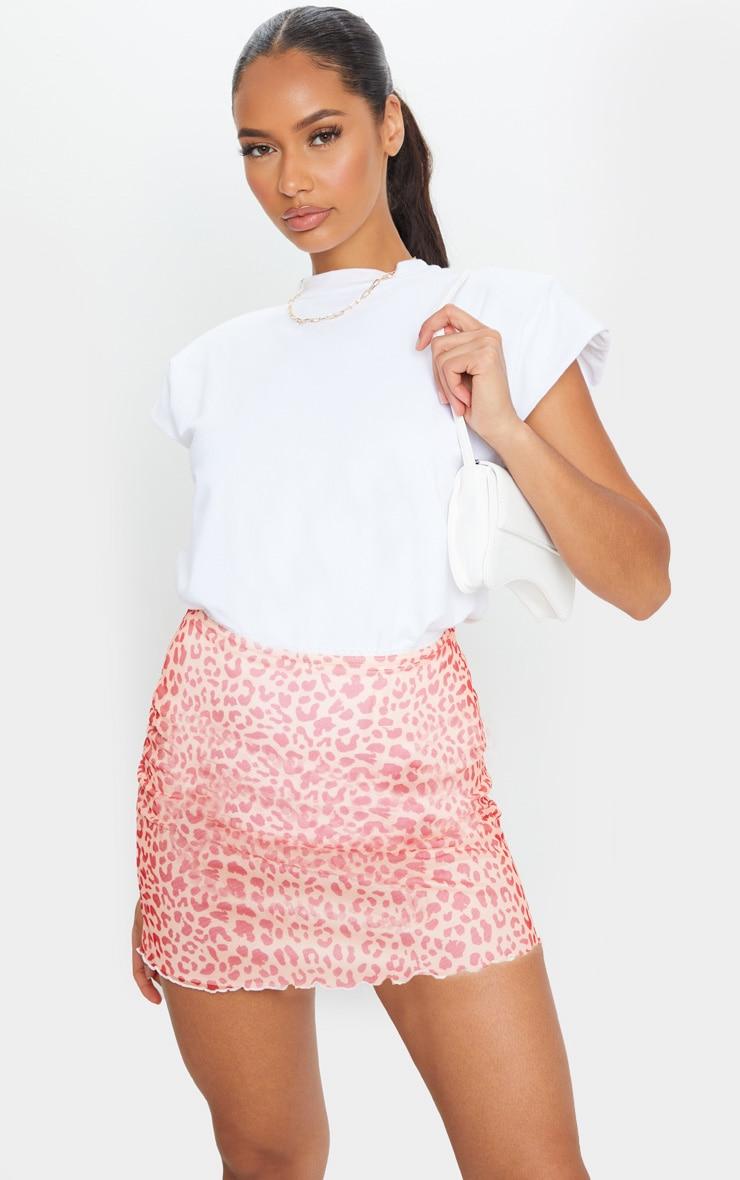 Pink Leopard Print Lettuce Hem Skirt 1