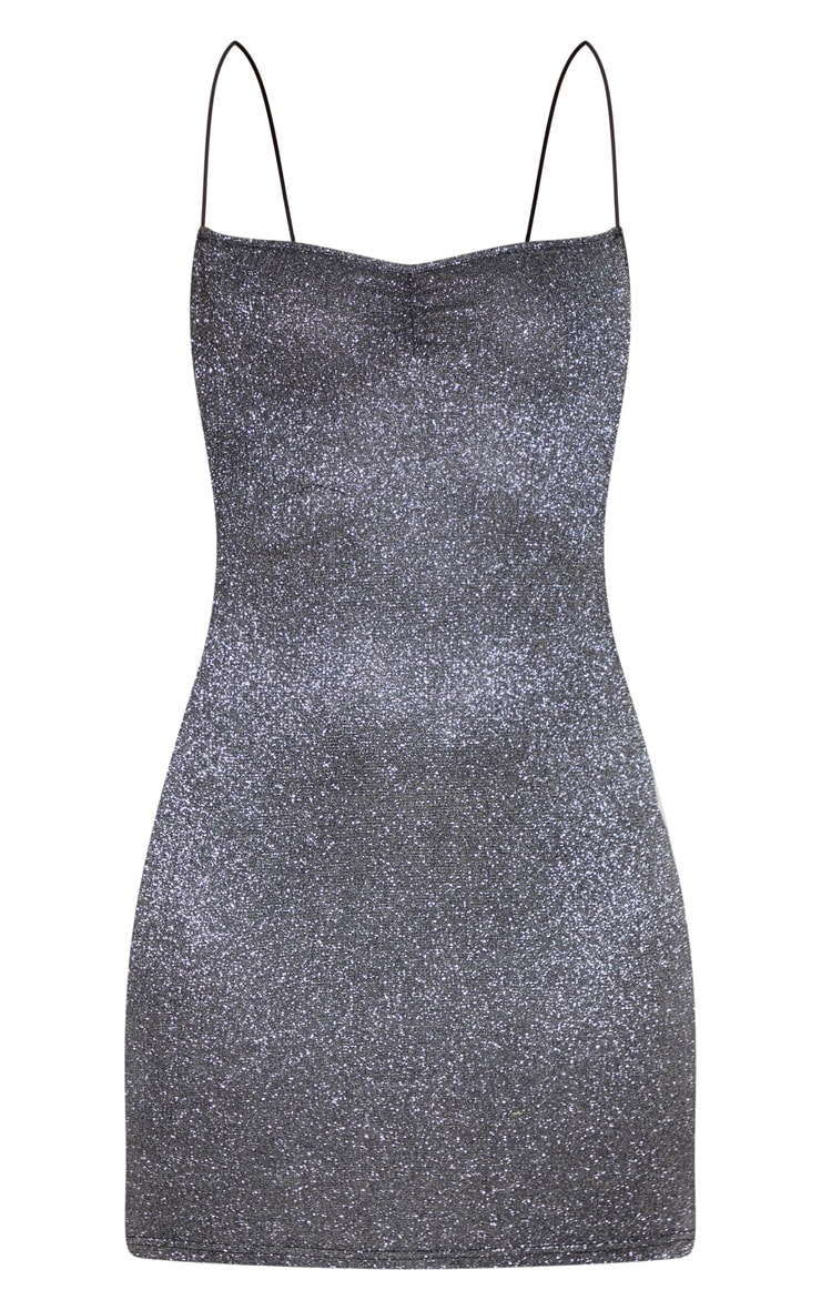 Black Strappy Back Glitter Detail Bodycon Dress 3