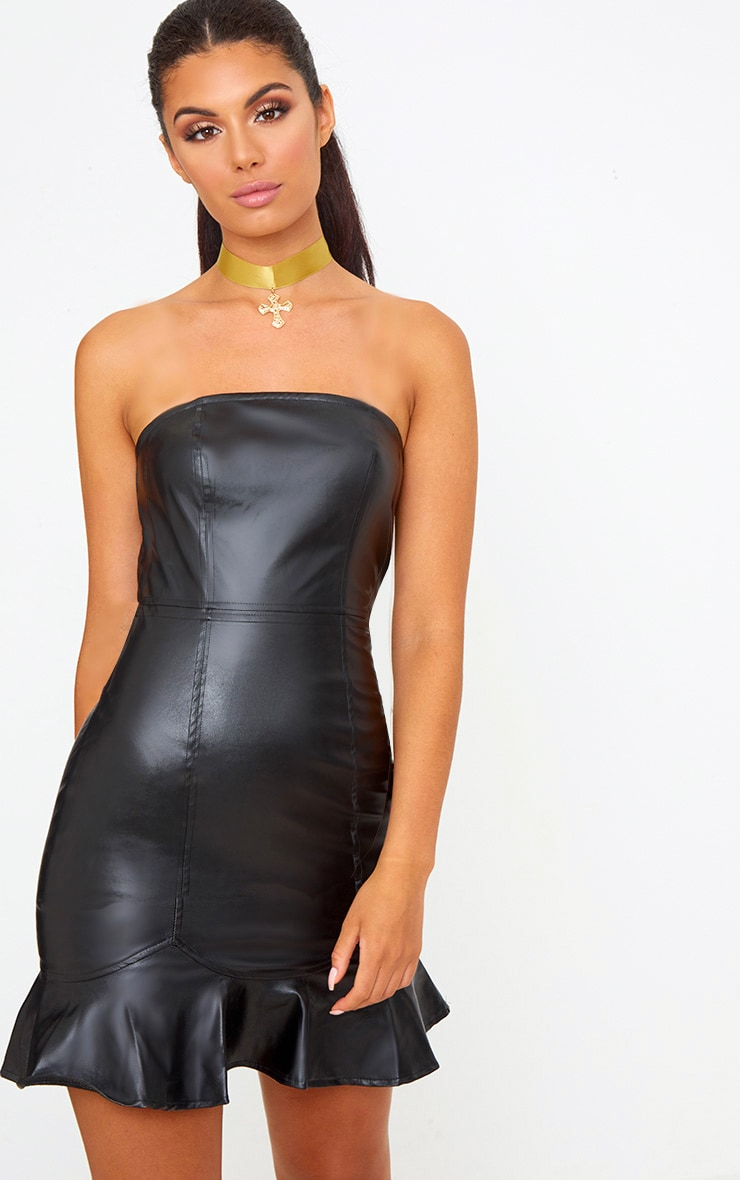 Black PU Frill Hem Bodycon Dress 1