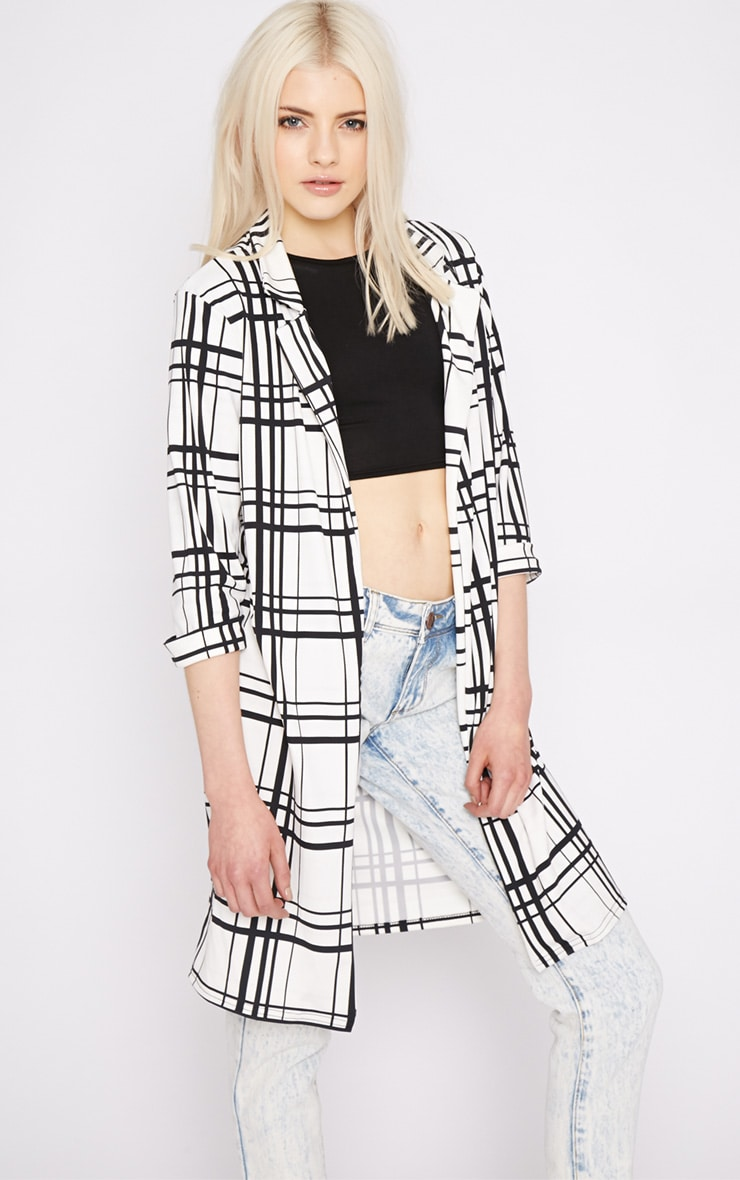 Aggie White Checked Duster Jacket  1