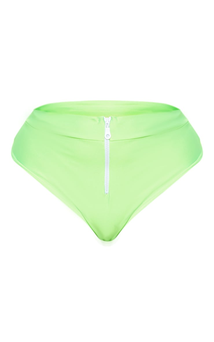 Plus Neon Green Zip Detail Bikini Bottom  3