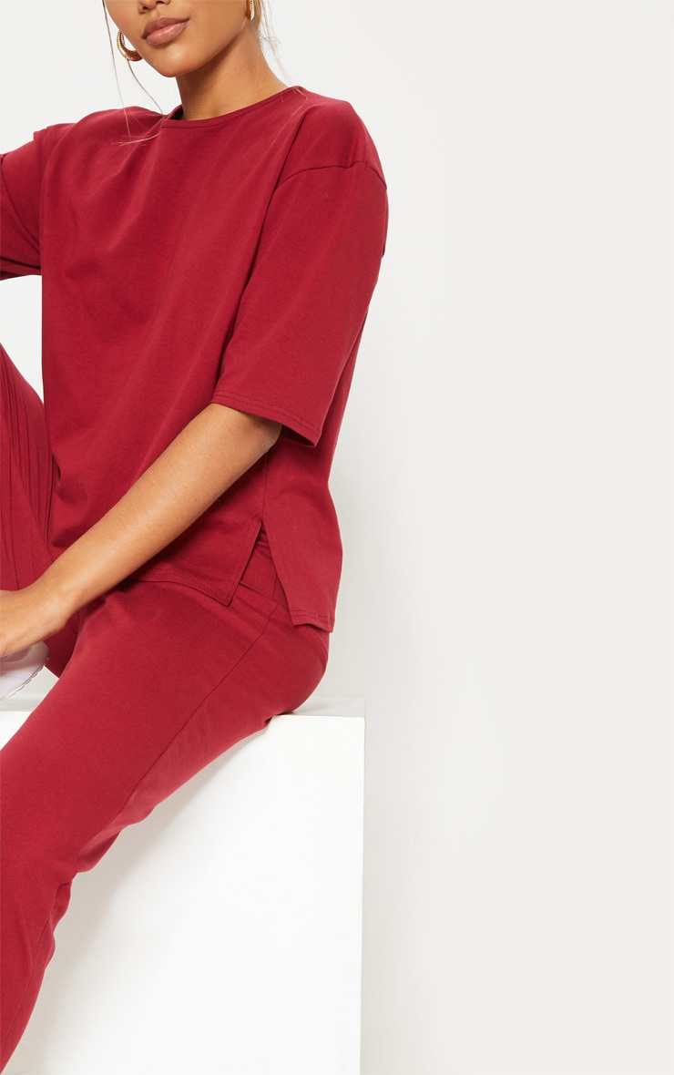 Burgundy Jersey Crew Neck Boxy T Shirt & Trouser Set 5