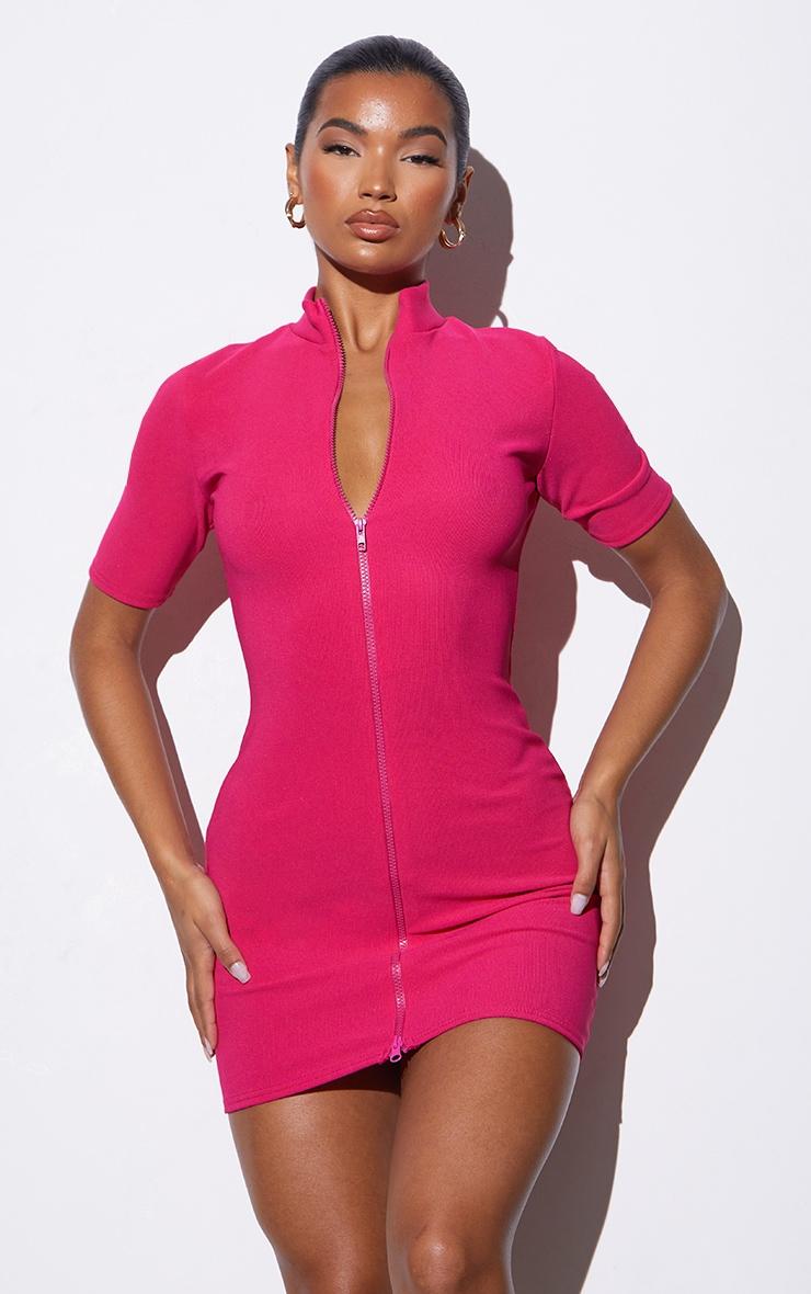 RENEW Pink Rib Double Zip Short Sleeve Bodycon Dress 1