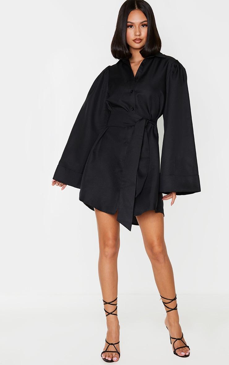 Black Flare Puff Sleeve Tie Waist Shirt Dress 3