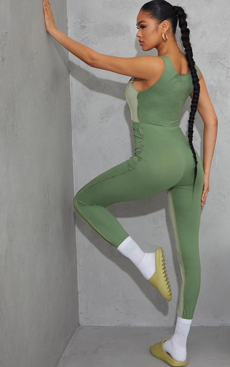 Khaki Contrast Panel Seam Detail Lace Up Jumpsuit 2