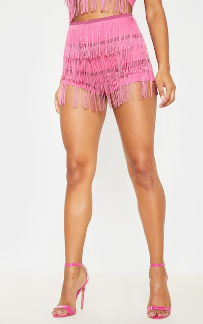 Washed Violet Tiered Fringe Shorts