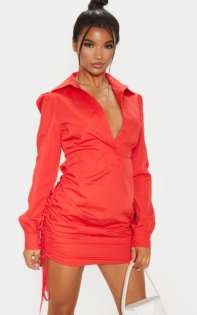 Red Ruched Side Fitted Shirt Dress