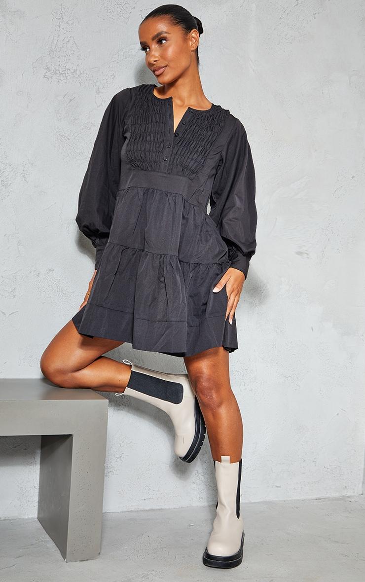 Black Woven Ruffled Tiered Smock Dress 3
