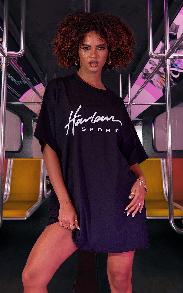 Black Graphic Print Oversized T Shirt Dress 2