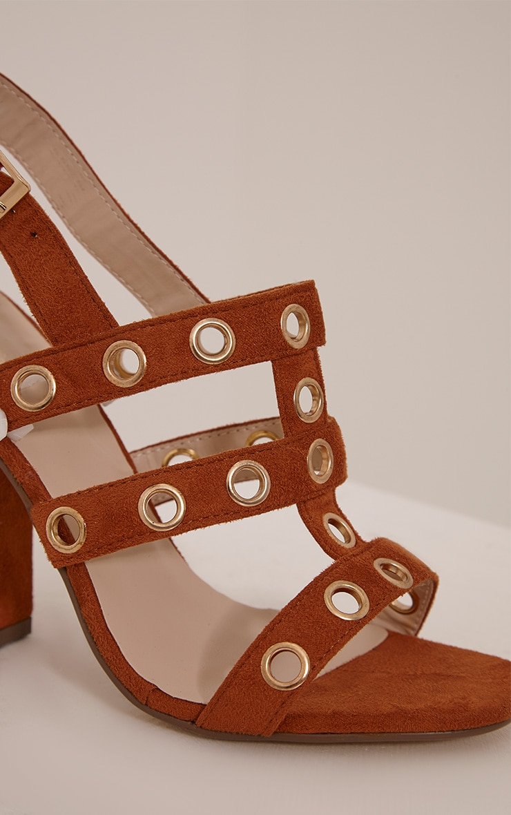 Ray Tan Faux Suede Eyelet Detail Heeled Sandals 5