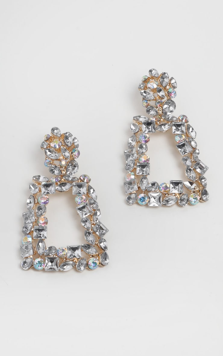 Gold Crystal Door Knocker Earrings 1