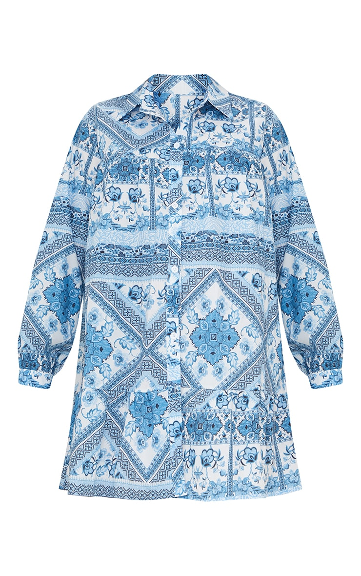Maternity Blue Oversized Tapestry Print Long Sleeve Smock Dress 5