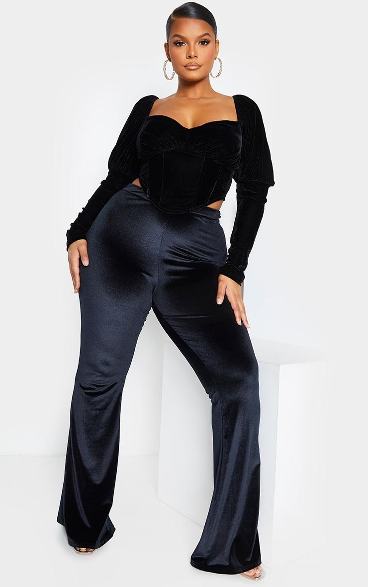 Plus Black Velvet Puff Sleeve Corset Top 1