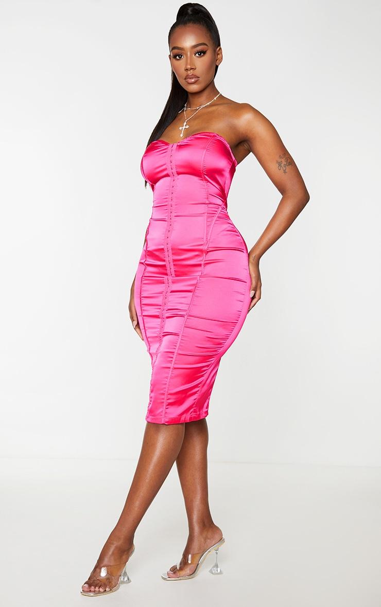 Shape Hot Pink Sweetheart Hook And Eye Midi Dress 1