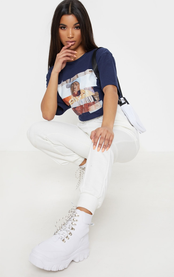 Navy Biggie Print Oversized T Shirt 4
