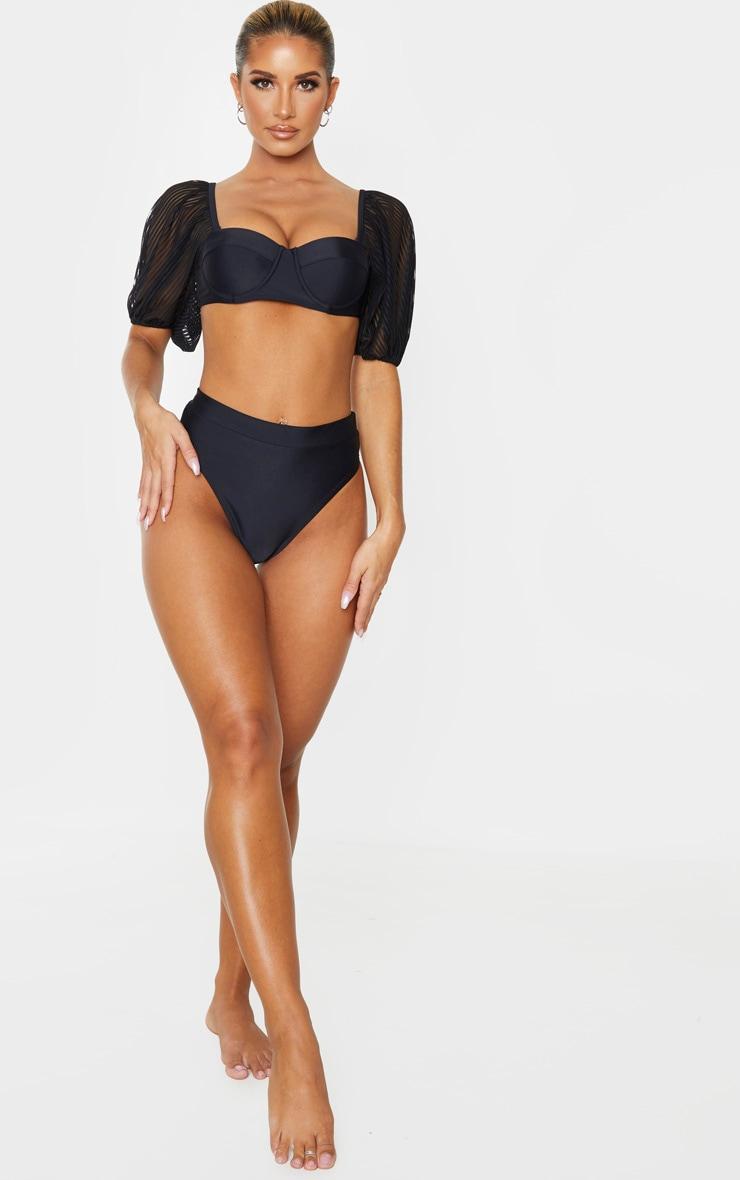 Black Sheer Stripe Puff Sleeve Cupped Bikini Top 4