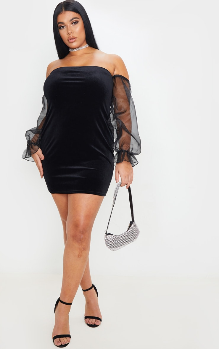 Plus Black Velvet Organza Sleeve Bodycon Dress 1