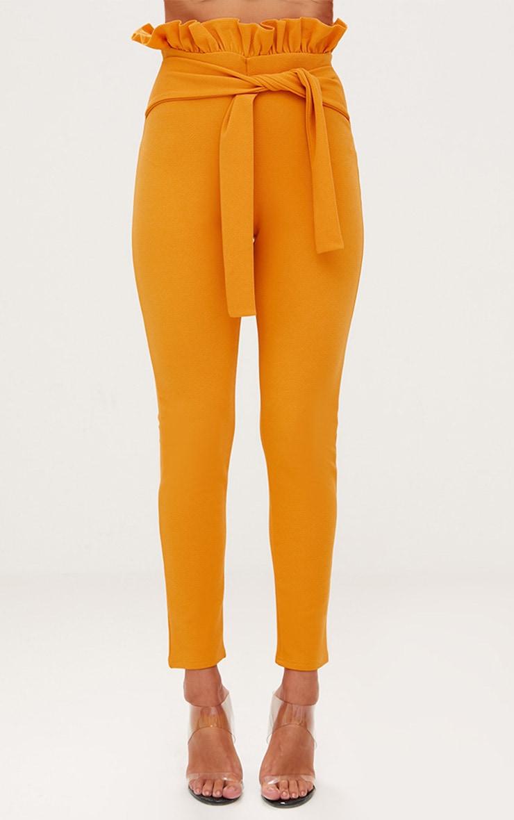 Mustard Paperbag Waist Skinny Trousers 2