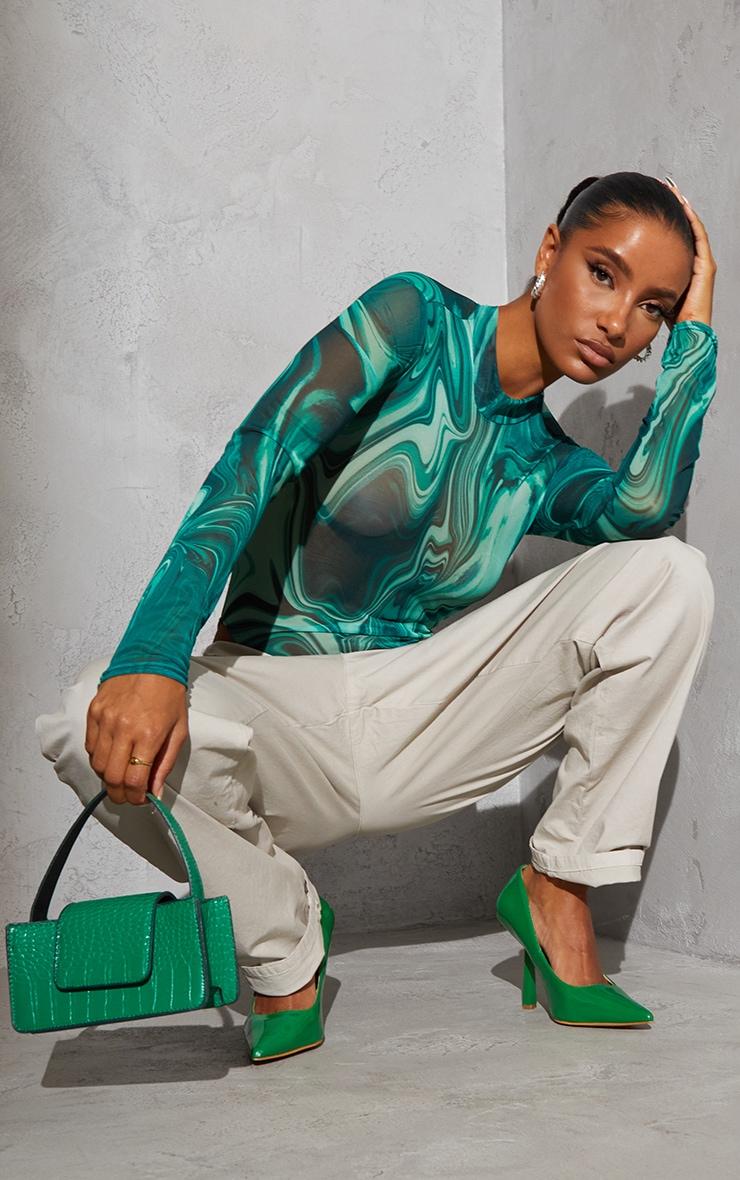 Body en mesh vert imprimé marbre à dos découpé et col montant 2