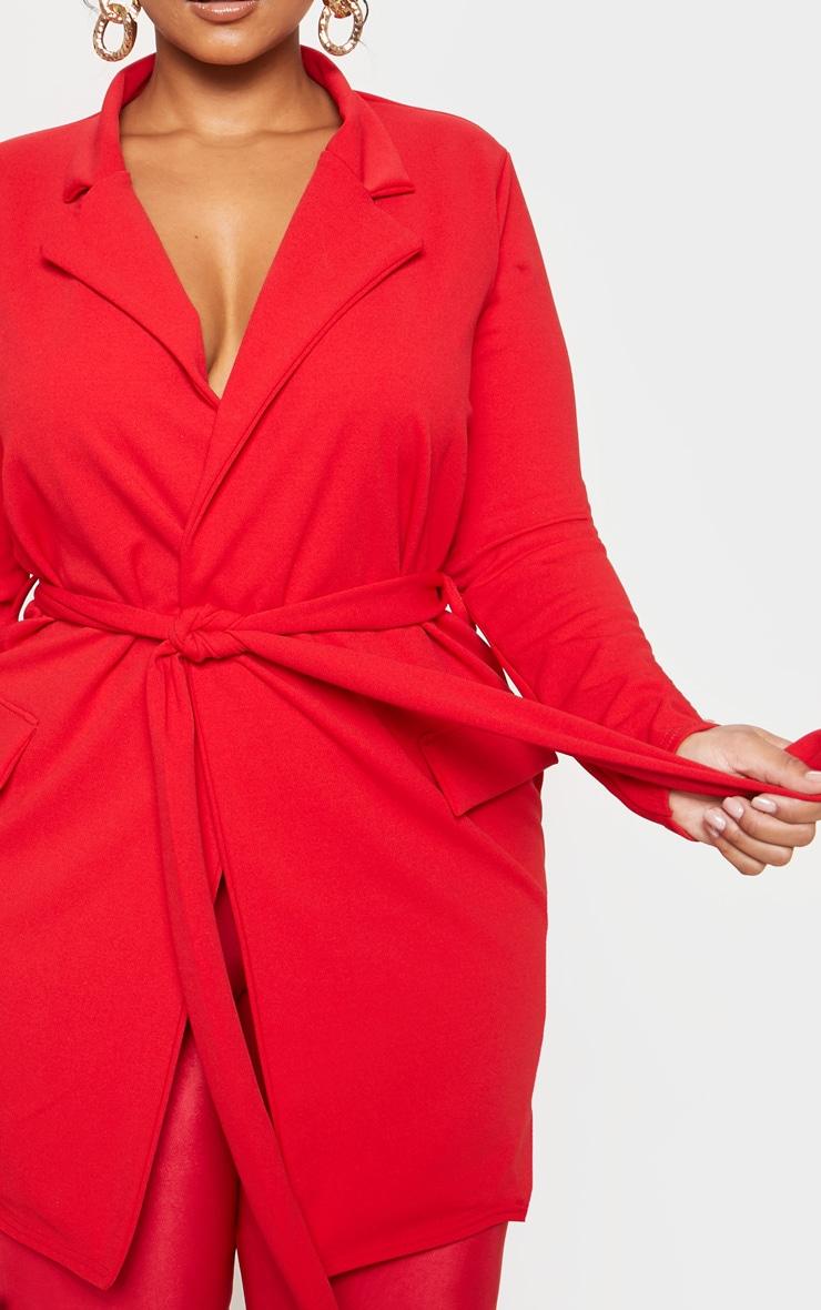 Plus Red Pocket Detail Tie Waist Blazer 5