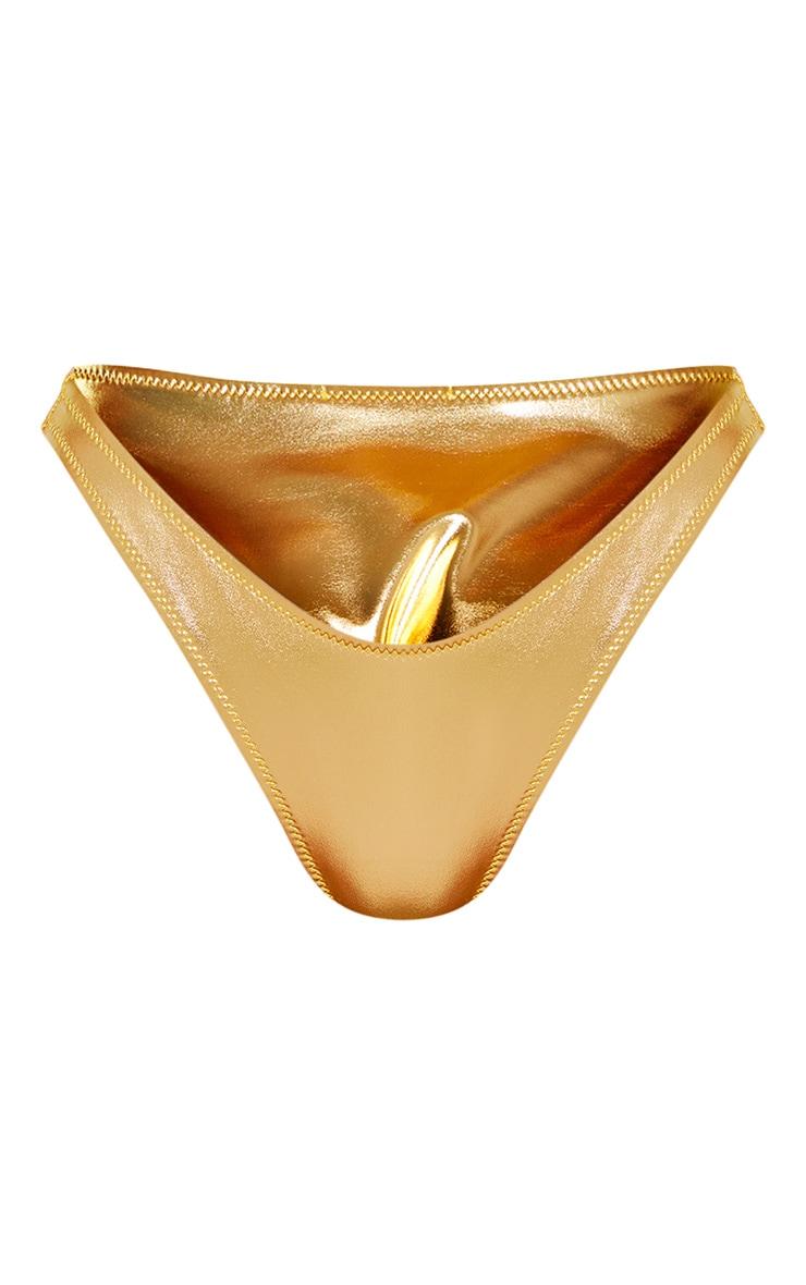 Gold Metallic V Front Brazilian Bikini Bottom 7