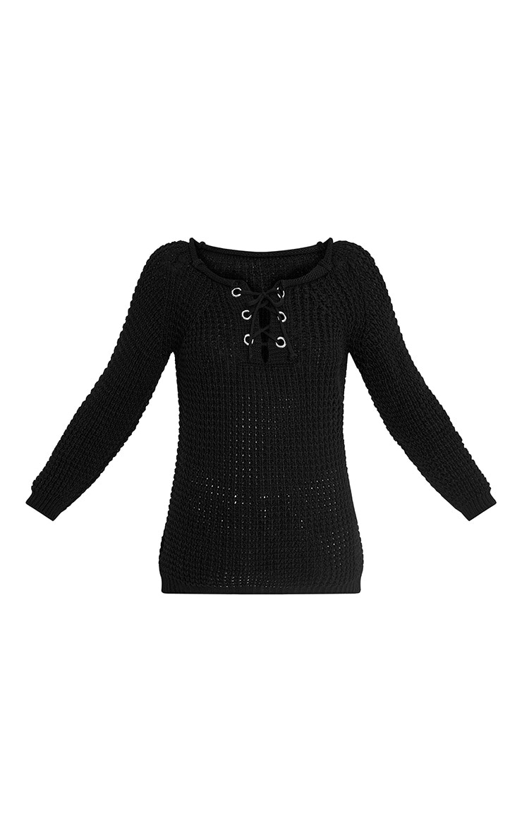 Haidyn Black Lace Up Knitted Jumper 3