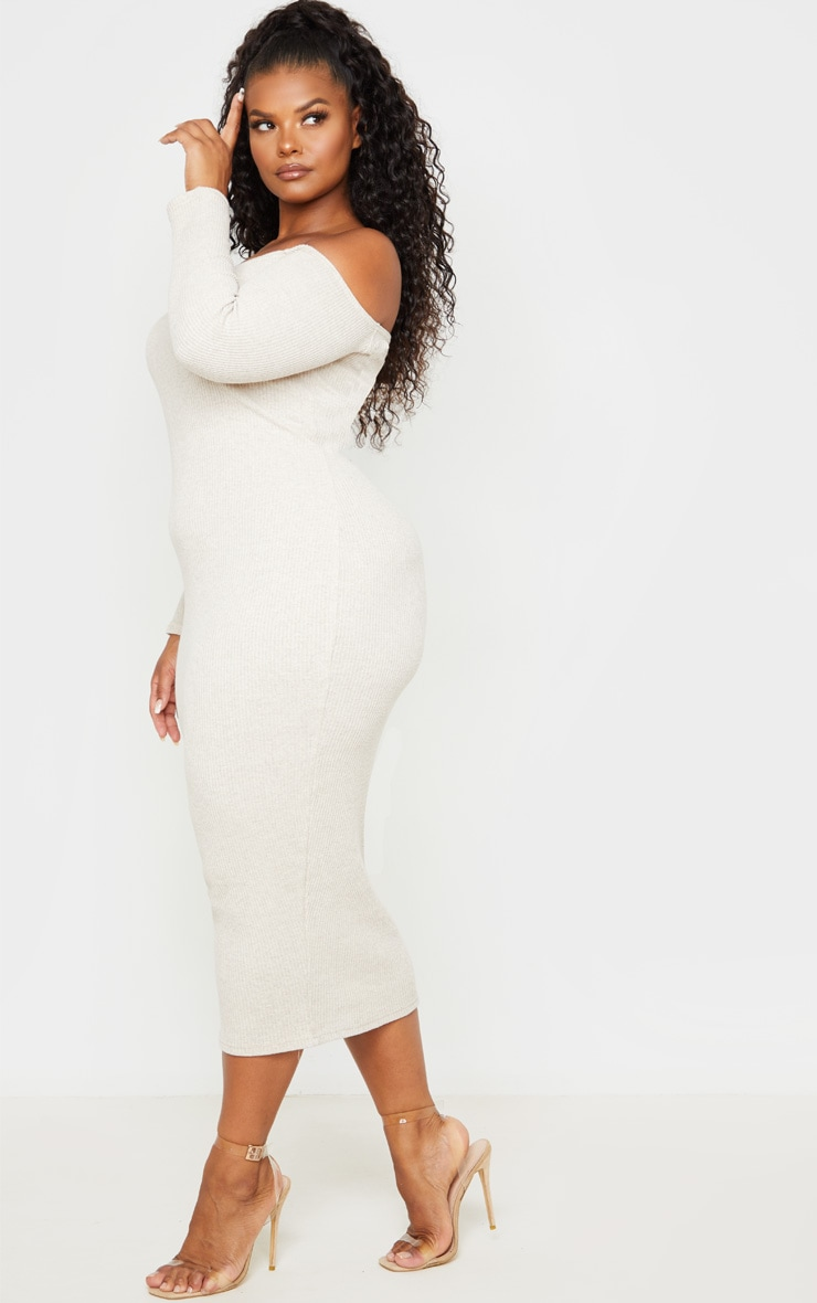 Plus Stone Ribbed Bardot Midi Dress 4