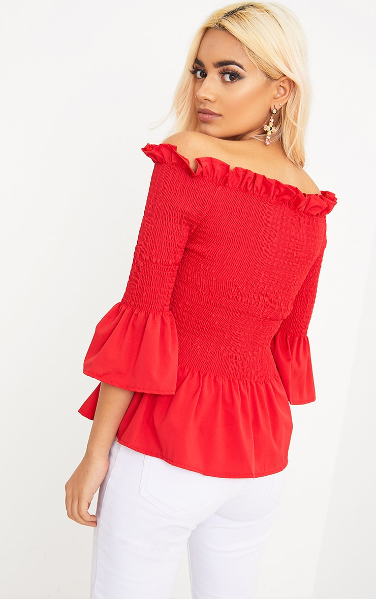 Pami Red Ruched Bardot Cotton Shirt 2