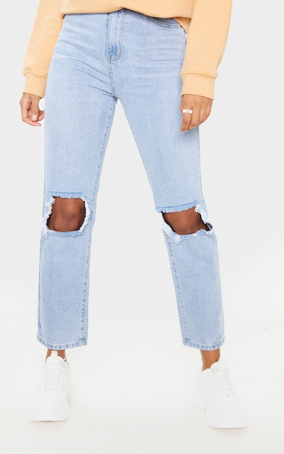 PRETTYLITTLETHING Knee Rip Light Wash Straight Leg Jean