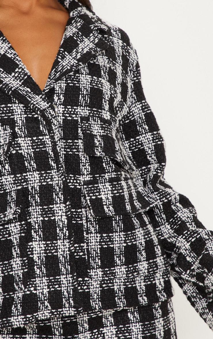 Black Tartan Boucle Button Detail Jacket 5