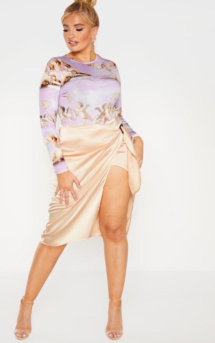 PLT Plus - Jupe mi-longue portefeuille champagne satinée à ceinture écaille de tortue, Champagne
