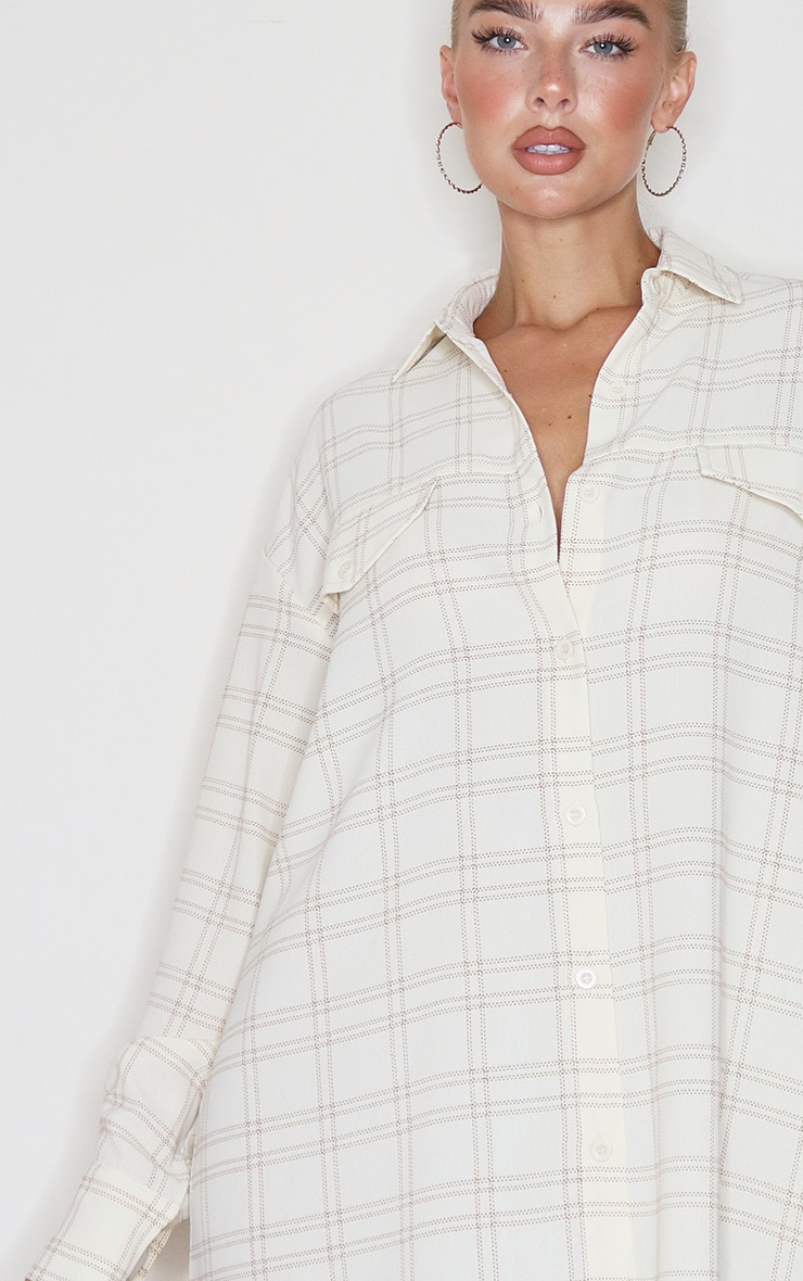 Cream Checked Pocket Detail Oversized Shirt 2