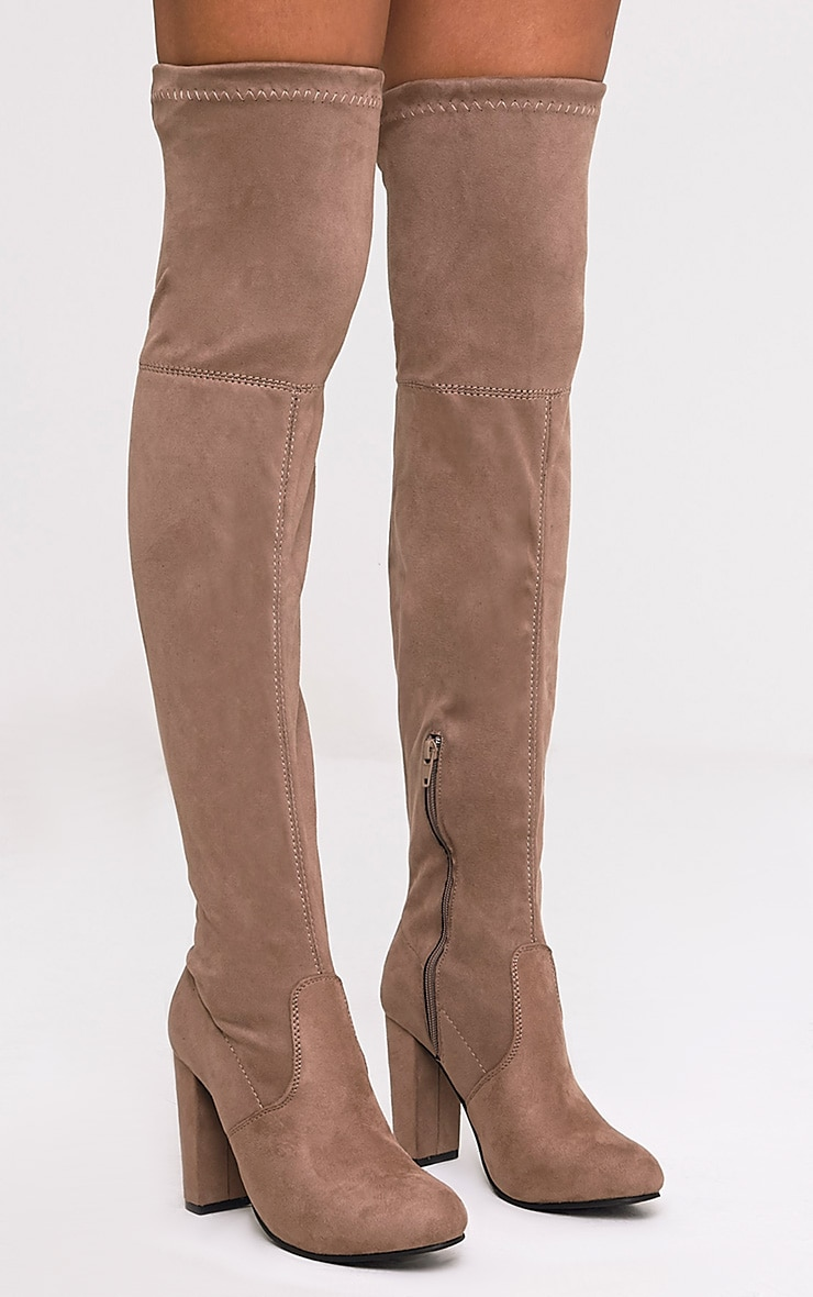 Mocha Faux Suede Heel Thigh Boots 1