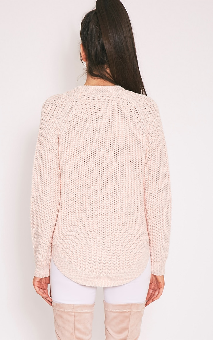 Elania Pink V Neck Cable Knit Jumper 2