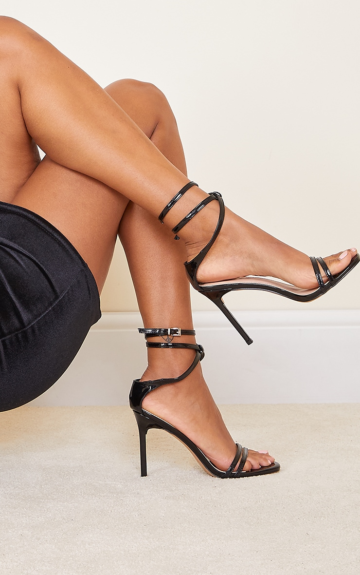 Black Double Strap Multi Ankle Tie High Heeled Sandals 1