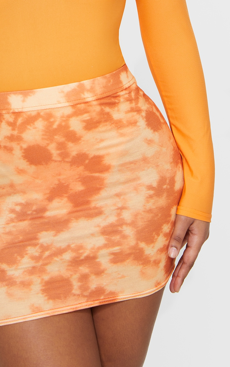 Orange Tie Dye Print Mini Skirt 5