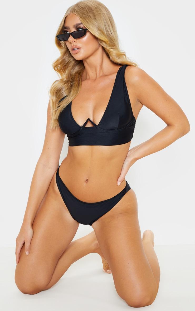 Black V Wire Plunge Bikini Top 4