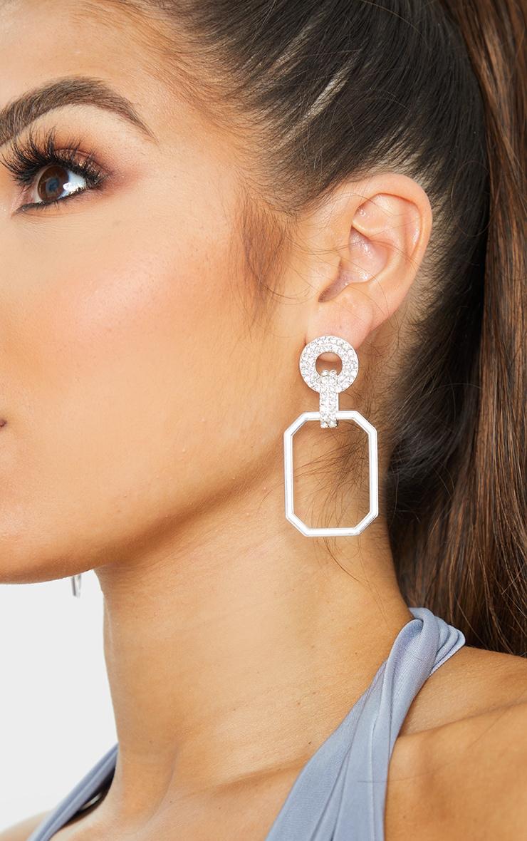 Silver Diamante Circle Link Door Knocker Earrings 1