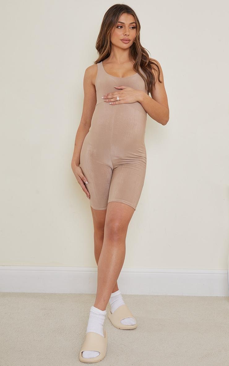 Maternity Mocha Slinky Unitard 3