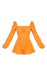 Bright Orange Tie Back Long Sleeve Romper 5